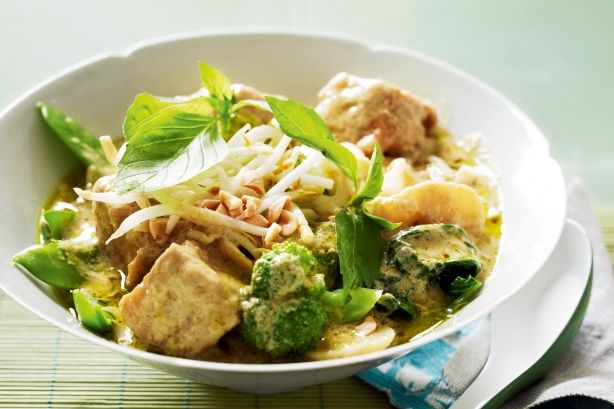 Very green vegetable curry - Kaffir lime leaves and fresh ginger - delicious!