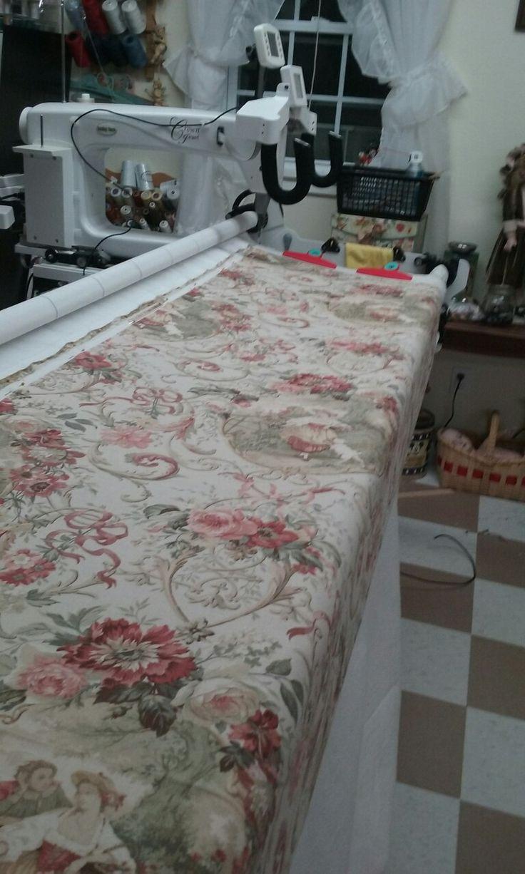 Making a bedspread.