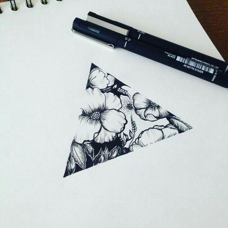 Floral Triangle Tattoo Idea | @mirificial