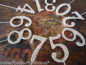 Birthday Wedding Cake Topper Rhinestone Crystal Anniversary Silver Table Numbers | eBay