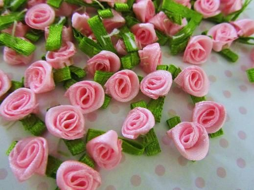 100pc Satin Ribbon Rose Flower with Leaves 10mm (F78-Pink)