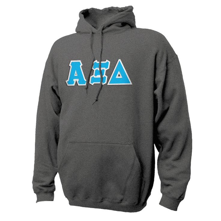 Alpha Xi Delta Dark Heather Hoodie with Sewn On Letters