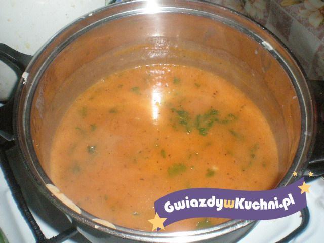 Sos pomidorowy z koncentratu z posiekaną natką.