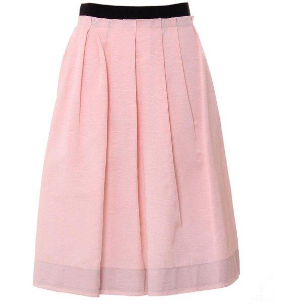 D&G Light Pink/Black Pleated Skirt (1,265 MXN) ❤ liked on Polyvore featuring skirts, bottoms, saias, юбки, faldas, pleated a line skirt, black knee length skirt, black cotton skirt, cotton a line skirt and light pink skirt