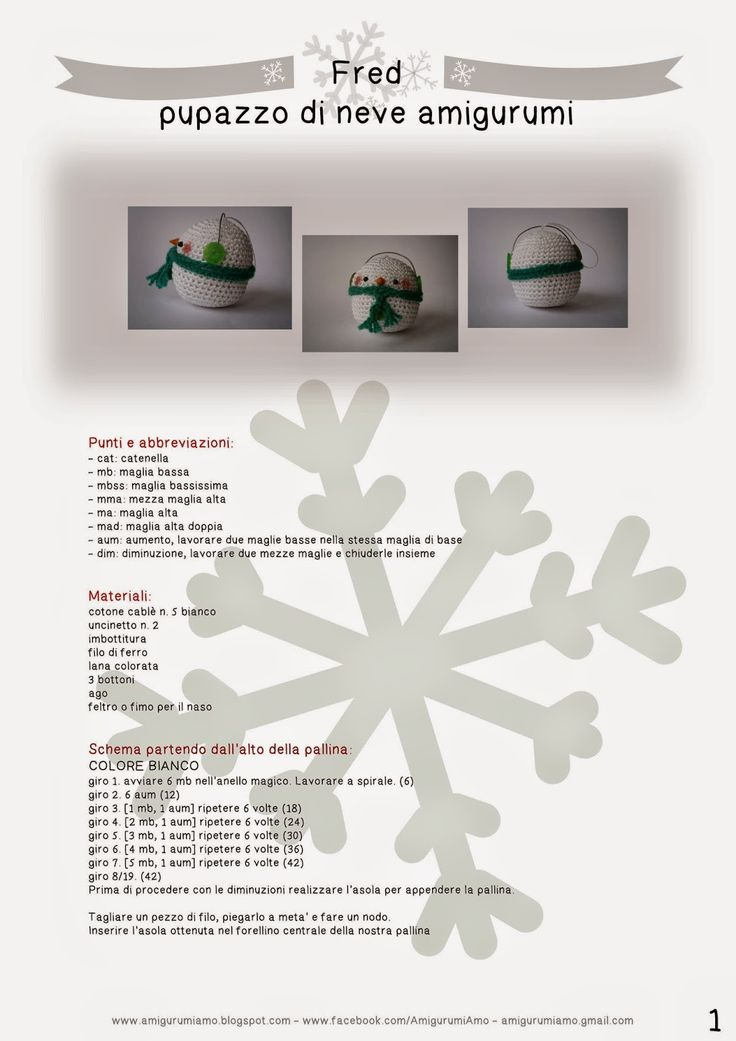 AmigurumiAmo: #4 Natale: Fred il pupazzo di neve amigurumi