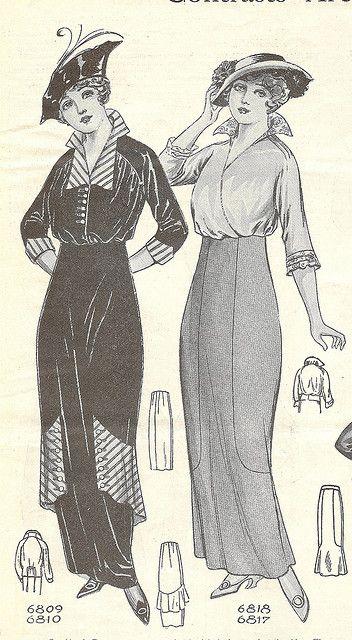 Elegantly lovely ladies fashions from Needlecraft magazine, September 1914.