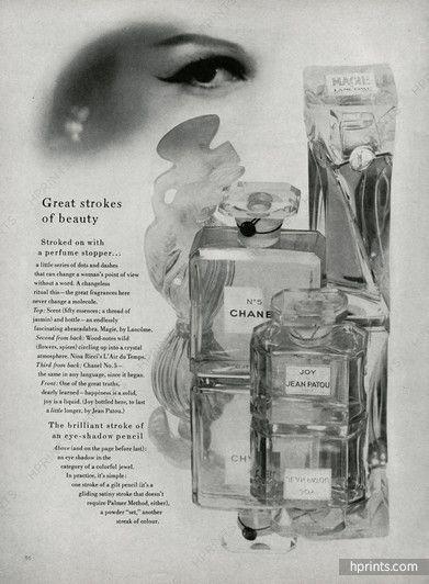 L'Air du Temps (Нина Риччи), Numéro 5 (Chanel), Радость (Jean Patou), Magie (Lancôme) 1956 Парфюмы, фото Джон Стюарт