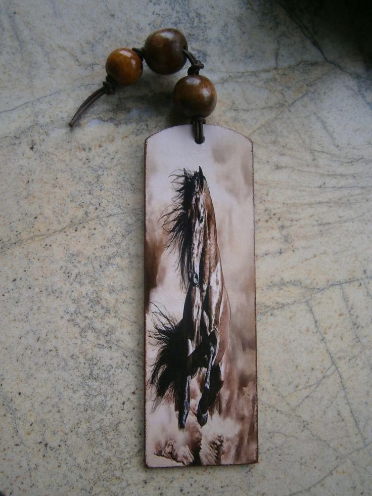 Decoupage bookmark horse, zakładka koń #decoupage #bookmark #horse