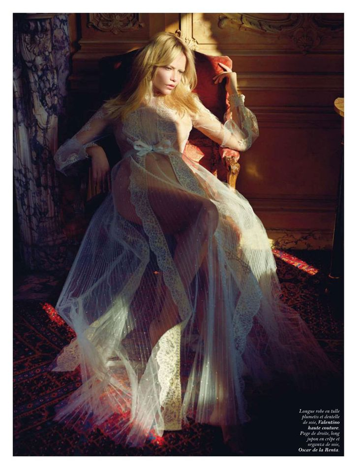 Clair de Jour – Natasha Poly strips down to sheer spring dresses and gowns for the June-July edition of Vogue Paris, lensed by Mario Sorrenti.