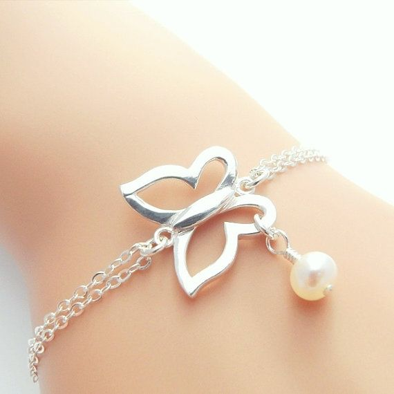 Butterfly Bracelet Sterling Silver and Pearl Bracelet, Silver Butterfly Jewelry, Bridesmaid Jewelry Gifts, Wedding Party Jewelry Gifts.