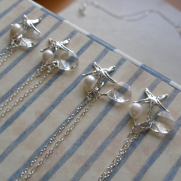 Under the Sea - Four Sterling Silver Bridesmaids Gift Necklaces for Beach Wedding Theme. $160.00, via Etsy.
