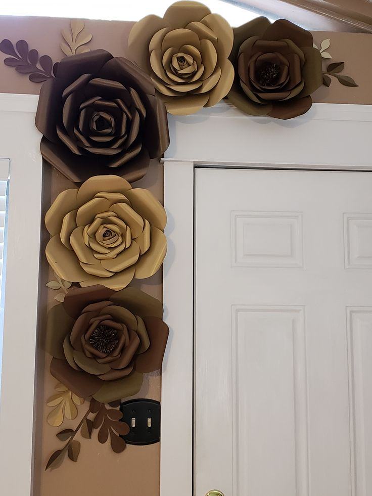 Giant brown tan and gold wall flowers paper flower