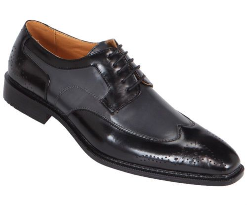 Bolano Mens Two Tone Black/Grey Wingtip Style Oxford Dress ...