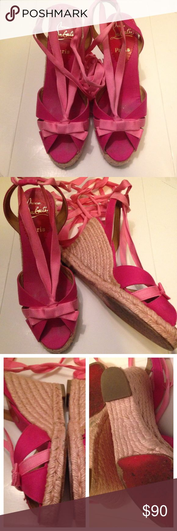 ❄️Authentic Christian Louboutin Pink Espadrilles Purchased at a top consignment store in NYC, I have only worn these once. Beautiful and comfortable, they feature jute dyed lightly pink and soft leather with fabric covering uppers. Bottom features the classic Louboutin red sole. Christian Louboutin Shoes Espadrilles