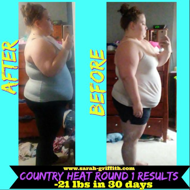 Talk about a killer Country Heat transformation! Down 21 lbs in 30 days. Check out her story on my blog and learn how she did it.