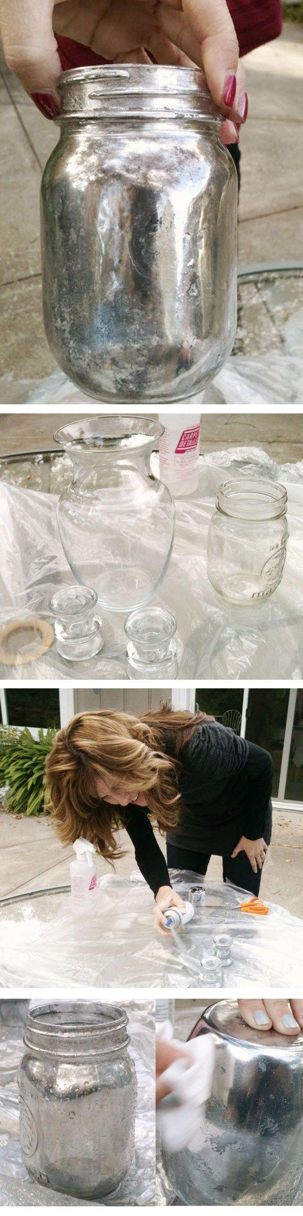 DIY  ::  Mercury Glass look :: glass jar, spray paint, vinegar, water, paper towel  ( http://www.katiesrosecottageblog.com/2012/02/mercury-glass-family-fun.html )