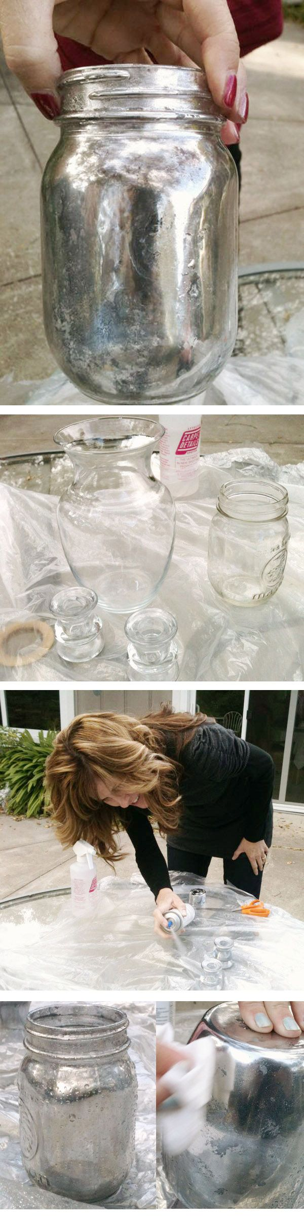 DIY  ::  Mercury Glass look :: glass jar, spray paint, vinegar, water, paper towel  ( http://www.katiesrosecottageblog.com/2012/02/mercury-glass-family-fun.html )