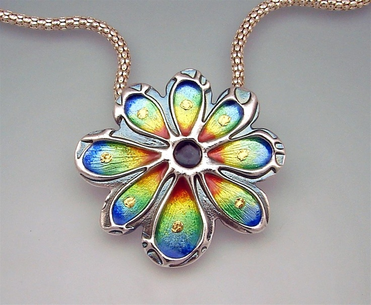 Rainbow Sprite silver metal clay and enamel pendant by Joy Funnell