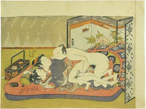 Erotic japanese bath house painting