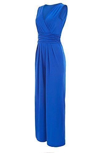 7276cc655f1 Laeticia Dreams Eleganter Damen Overall Jumpsuit V Ausschnitt S M L XL  Farbe Royalblau Größe 40