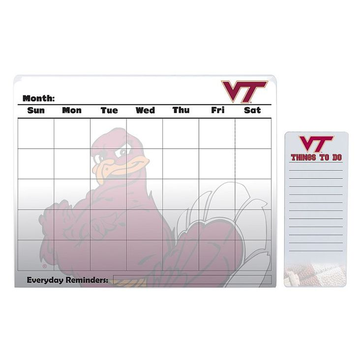 Virginia Tech Hokies Dry Erase Calendar & To-Do List Pad Set, Multicolor