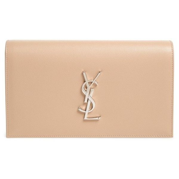 Saint Laurent 'Monogram' Leather Clutch found on Polyvore featuring bags, handbags, clutches, nude powder, leather handbags, leather clutches, monogrammed purses, monogrammed leather purse and nude clutches