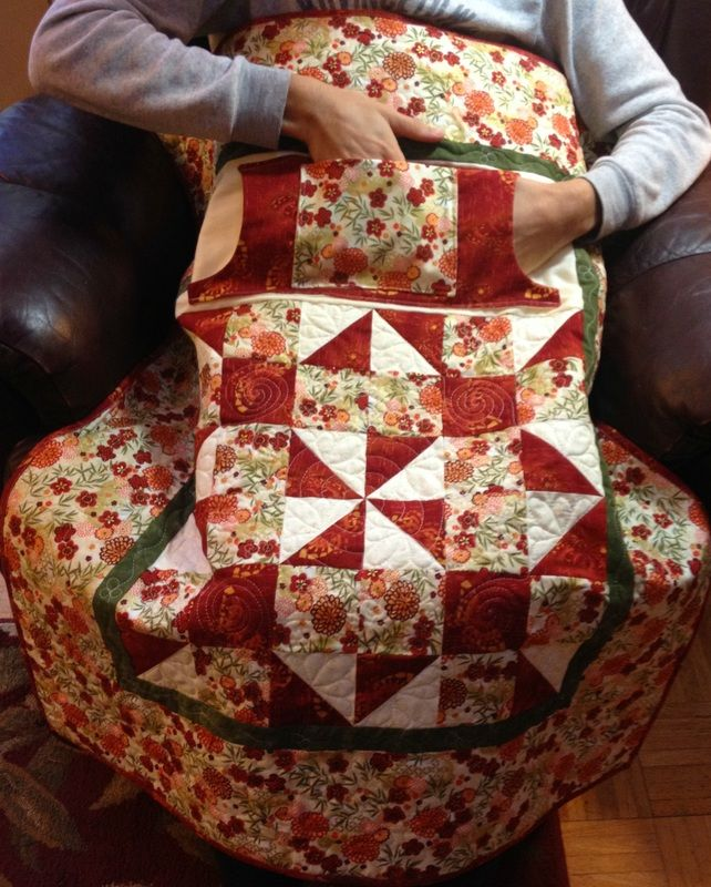 Lovie Lap Quilt with Pockets lined in flannel; great gift for Mom or Grandma.  Purchase at http://www.homesewnbycarolyn.com