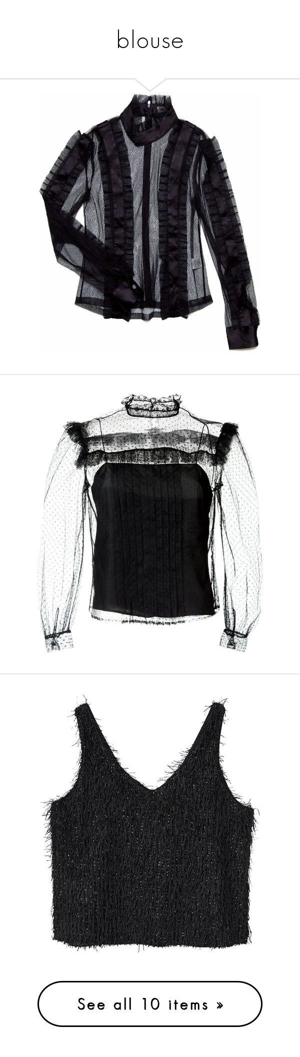 """""""blouse"""" by tinderella on Polyvore featuring tops, blouses, see through tops, flutter-sleeve top, sheer high neck top, see through blouse, flounce blouse, black, long sleeve tops and miu miu blouse"""