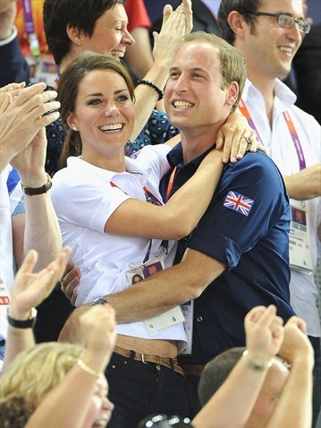 Catherine, Duchess of Cambridge and Prince William, Duke of Cambridge during Day 6 of the London 2012 Olympic Games at Velodrome.