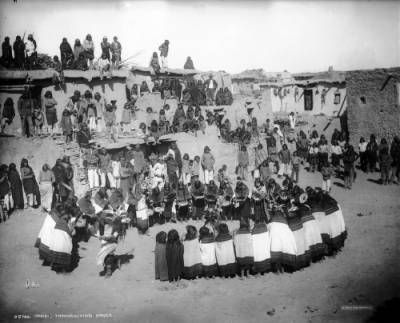 1899 photo of Oraibi, thanksgiving dance. A group of ...