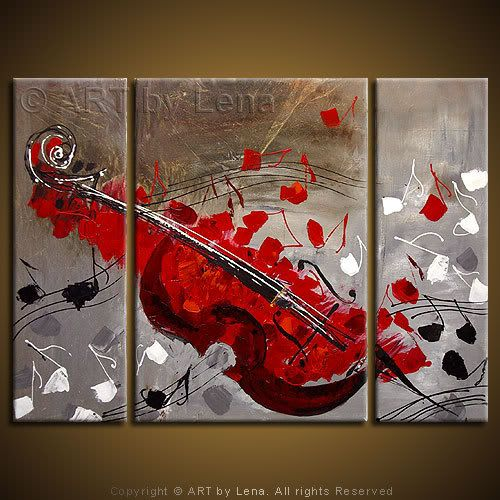 """Red Cello"" Original canvas painting by Lena Karpinsky"