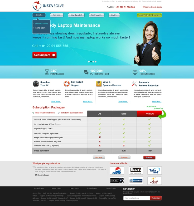 Website Design for an Anti-virus solutions provider in India
