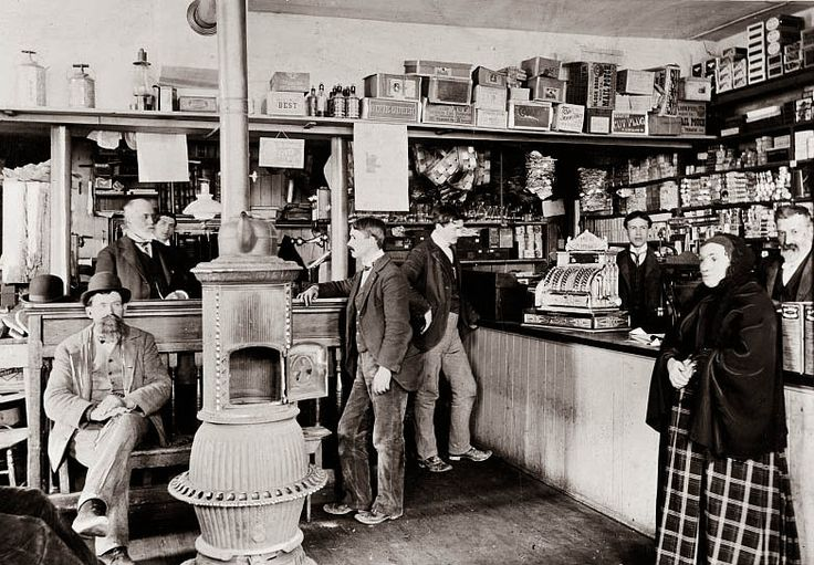 Today's picture was taken around 1900, and shows a general store in Maryland. I love the pot belly stove, and the bench where shoppers could sit, and visit with one another. I have to think this was a much nicer shopping experience than most grocery stores today