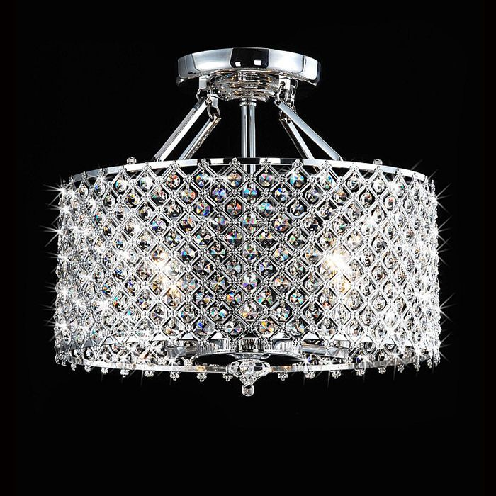 details about modern 4 light crystal chandelier drum shade pendant