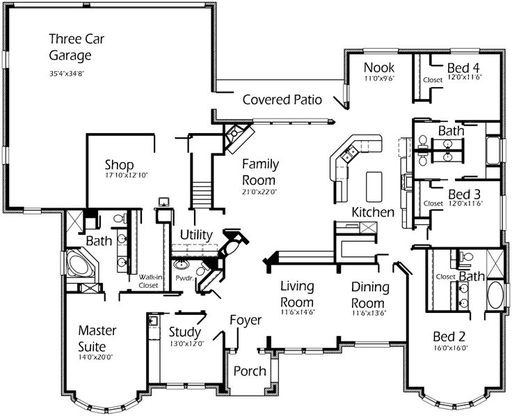 Love This Single Story Floor Plan Love The Shop Area