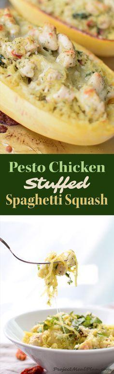 Pesto Chicken Stuffed Spaghetti Squash recipe - Pesto, chicken, spinach, and a little greek yogurt for creamy goodness! Super healthy dinner for two! - http://ProjectMealPlan.com
