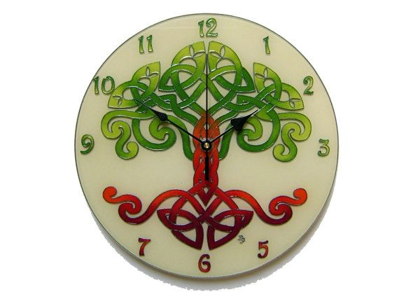 Celtic Tree of Life Wall Clock, Celtic Home Decor, Hand Painted, Silent, Glass Paiting Wall Clock