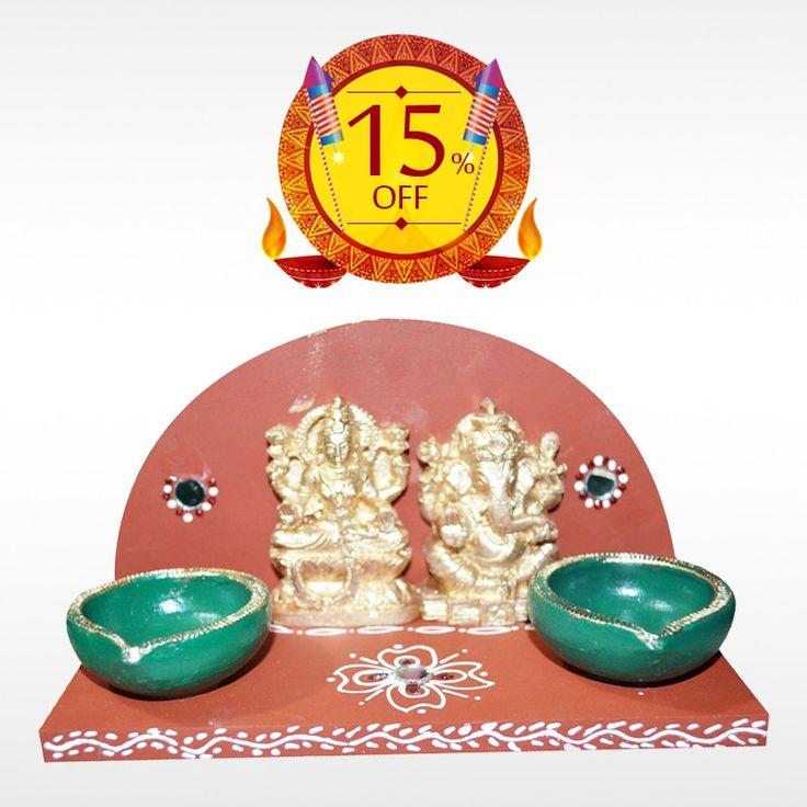 Buy authentic Lakshmi Ganesha #Deepam this #Diwali, the festival of lights more auspicious.   Get 15% off on #DiwaliFestivalItems only at #BringHomeFestival.