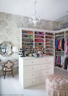 Bethenny Frankel's spacious closet, complete with an array of designer heels