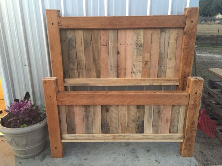Rustic handmade pallet full size headboard and footboard