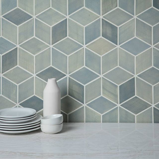 Medium Diamonds 22e Blue Opal 22e Blue Opal With Images Mercury Mosaics Handmade Tiles Diamond Tile