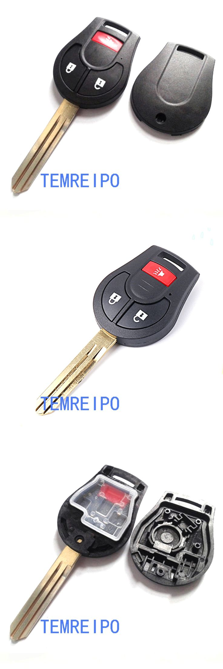 blank key new blade 2016 2+1buttons remote key shell for nissan March Sunny