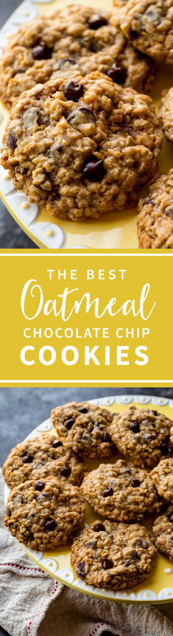 SUPER soft and chewy oatmeal chocolate chip cookies with a little extra molasses to bring out the BEST flavor!! Recipe on sallysbakingaddiction.com