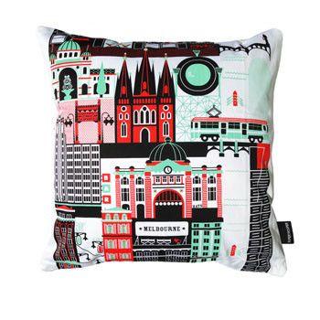Melbourne Cushion Cover - Australian Made Gifts & Homewares Bits of Australia