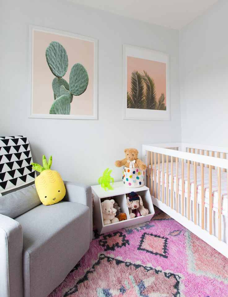 """""""We're racing the clock to finish our pending daughter's nursery, where we've carried over the apartment's bold artwork and bright colors vibe. We want her room to feel like a natural extension of the apartment but still have the fun whimsy of a kid's room, so we went with a slightly tropical theme we call 'The Golden Girls go on vacation to Palm Springs.'"""""""