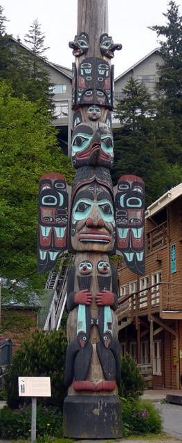 The paint and art style which has been applied to this totem is similar to that which i want only i want mine to be more weathered and aged as well as being situated in amongst layers of greenery.