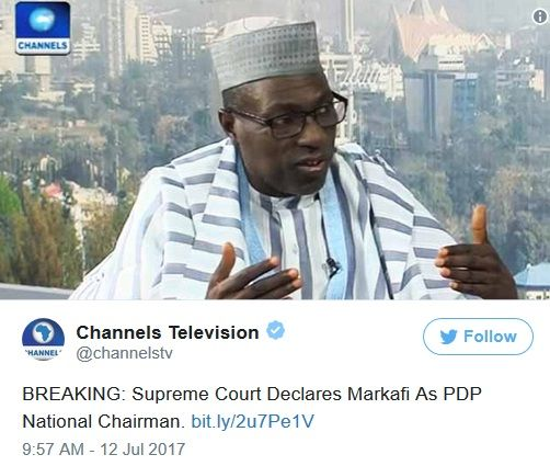 BREAKING News: Supreme Court Declares Markafi as PDP National Chairman in Final Judgement