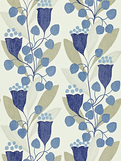 Sanderson Bellflower Wallpaper, Indigo / Silver Dcfl211652 online at JohnLewis.com - John Lewis