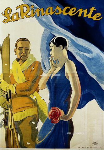 """Manifesto pubblicitario dei grandi magazzini """"La Rinascente"""" di Marcello Dudovich (1878-1962)"""