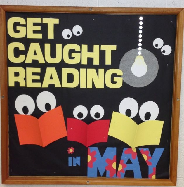May get caught reading... this would be cute for a class if the students drew their favorite book cover and maybe put a short book review on the back
